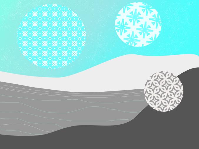surreal and abstract digital art snowflake illustration