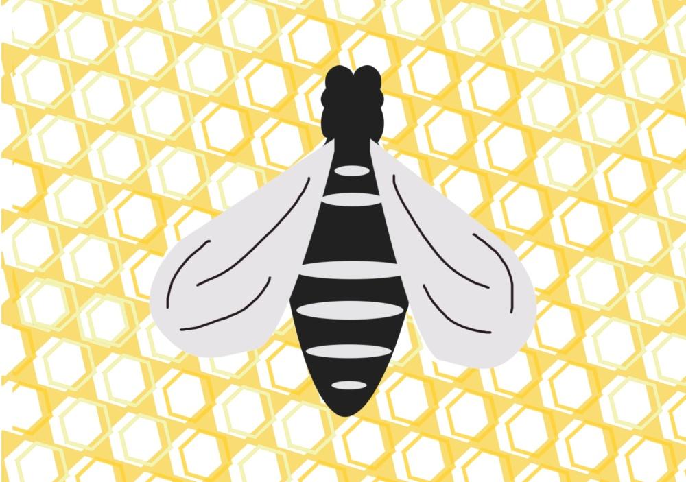 illustration, bee on golden yellow honeycomb background